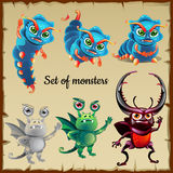 Set of six menacing insects, cute monsters Stock Images