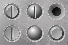 Set of six metal screws. Royalty Free Stock Image