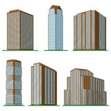 Set of six  modern high-rise building on a white background. Royalty Free Stock Photos