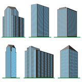 Set of six  modern high-rise building on a white background Royalty Free Stock Photos