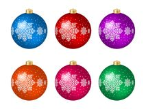 Set of six  multicolored Christmas balls. Set of six multicolored Christmas balls with decoration isolated on white. Vector illustration Stock Photos