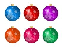 Set of six  multicolored Christmas balls with Christmas tree decoration Stock Image