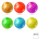 Set of six multicolored realistic colored spheres isolated on wh. Ite background. Six design elements for your business Stock Photo