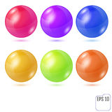 Set of six multicolored realistic colored spheres isolated on wh. Ite background. Six design elements for your business Royalty Free Stock Photo