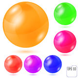 Set of six multicolored realistic colored spheres isolated on wh. Ite background. Six design elements for your business Stock Image