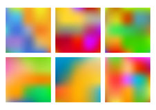 Set of six multicolored vector backgrounds made by gradient mesh. Blur effect. for design, printing templates, web sites Stock Image