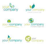 Set of six nature and gardening logos (vector) vector illustration
