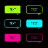 Set of six neon speech bubbles. Black background. Royalty Free Stock Photo