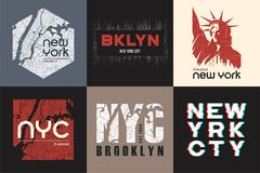 Set of six New York t-shirt and apparel designs. Vector print. Typography, poster, emblem Stock Image