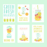 Set of six nice smoothie cards Royalty Free Stock Photography