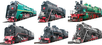 Set of six old steam locomotives Royalty Free Stock Photo