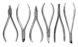A set of six orthodontic pliers Royalty Free Stock Photography