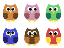 Set of six owlets Royalty Free Stock Photo
