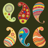 Set of six Paisley elements Stock Photography