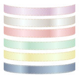 Set of Six Pastel Satin Ribbons Stock Photo