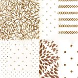 Set Of Six Patterns Floral And Polka Dots Repeating Backgrounds Monochrome Royalty Free Stock Images