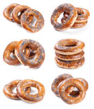 Set of six photos with bagels on white Stock Photos