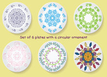 Set of six plates with the elegance of a tribal ornament, mandala. Vector illustration Stock Image