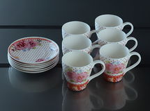 Set of six porcelain cups of coffee Stock Image