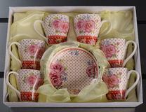 Set of six porcelain cups of coffee Royalty Free Stock Images