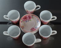 Set of six porcelain cups of coffee with texture Stock Photo