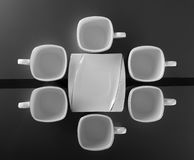 Set of six porcelain cups of coffee Stock Images