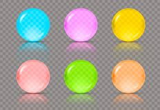 Set of six realistic transparent spheres or balls in different colors of blue, pink, yellow, red, green and orange. Colors with reflections. Vector illustration stock illustration