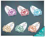 Set of six realistic winter price tags Royalty Free Stock Photo