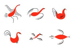 Set of six red birds. National northen paintings. Folk handicrafts. Enchanting original ornaments. Simplicity. Red flat duck, goos Stock Images