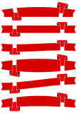 Set of six red cartoon ribbons for web design. Great design element isolated on white background. Stock Images