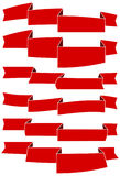 Set of six red cartoon ribbons for web design. Great design element  on white background. Stock Photo