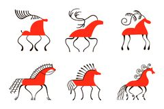 Set of six red horses. National northen paintings. Folk handicrafts. Enchanting original ornaments. Simplicity Royalty Free Stock Images