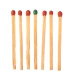 Set of six red and one green wooden matches Stock Photography