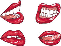 Set of six red sexy female lips Royalty Free Stock Photography