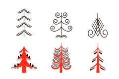 Set of six red trees. National northen paintings. Folk handicrafts. Enchanting original ornaments. Simplicity. flat oak, ash, pine Stock Image