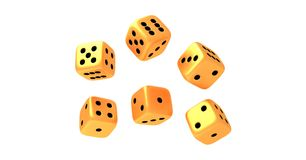 Set of six rolling golden dice on white background vector illustration