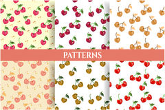 Set of six romantic, natural, seamless patterns Stock Images
