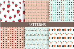 Set of six romantic, seamless patterns. Group of six patterns with umbrellas, strawberries, hearts, dots Royalty Free Stock Images