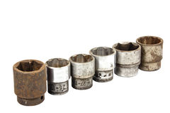 Set of Six Rusted and  Well Worn Sockets Royalty Free Stock Photography
