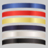 Set of Six Satin Ribbons in Primary Colors Royalty Free Stock Images