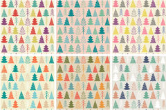 Set of six seamless Christmas  pattern with colorful fir-trees. In a vintage style Royalty Free Stock Photo