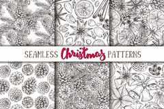 Set of six seamless Christmas patterns Royalty Free Stock Photography