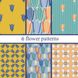 Set of six  seamless flower pattern with bluebells . Stock Photos