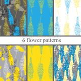Set of six  seamless flower pattern with lupines . Royalty Free Stock Images