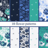 Set of six  seamless flower pattern. Patterns can be used as background, fabric print, surface texture, wrapping paper, web page backdrop, wallpaper. Vector Stock Photo