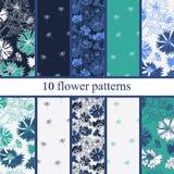 Set of six  seamless flower pattern. Stock Photo