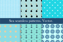 Set of six seamless marine patterns. Stock Images