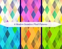 Set of six seamless modern plaid patterns. Royalty Free Stock Photography