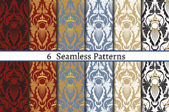 Set of six  seamless pattern of baroque style. Patterns can be used as background, fabric print, surface texture, wrapping paper, web page backdrop, wallpaper Royalty Free Stock Images