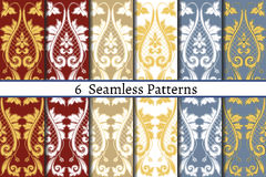 Set of six  seamless pattern of baroque style. Patterns can be used as background, fabric print, surface texture, wrapping paper, web page backdrop, wallpaper Royalty Free Stock Photo